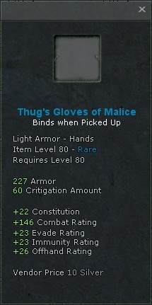 Thugs gloves of malice