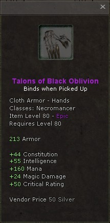 Talons of black oblivion