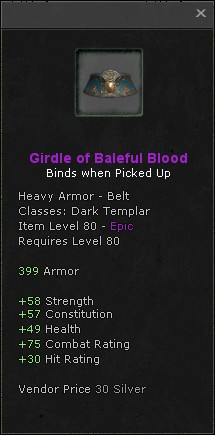 Girdle of baleful blood