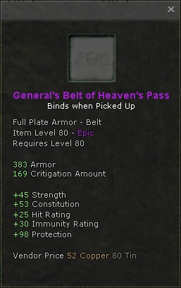 Generals belt of heavens pass