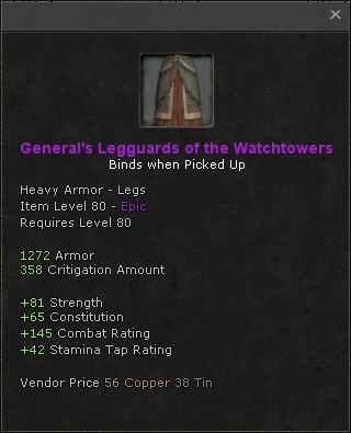 Generals legguards of the watchtowers