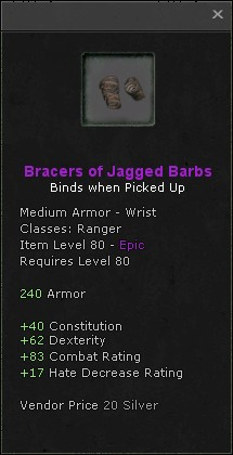 Bracers of jagged barbs