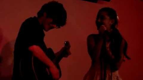 Matt and me singing I Think You're Swell at Meltdown Comics - Ariana Grande