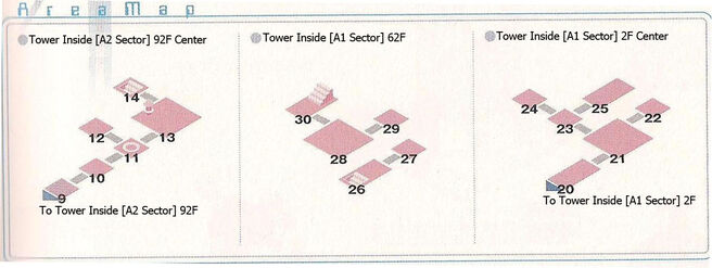 Tower Sector A2 91F Center, A1 Sector 68F and A1 Sector 2F Center Area Map