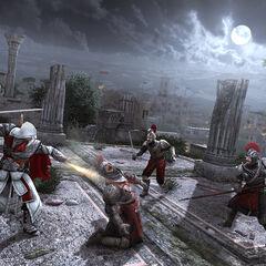 埃齐奥用袖枪射杀一个罗马守卫