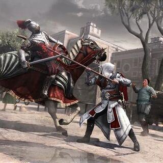 Ezio attacking a horseman with a spear