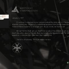 Abstergo message regarding the fabricated skeleton