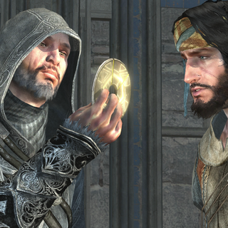 埃齐奥向优素福展示一枚马斯亚夫钥匙。