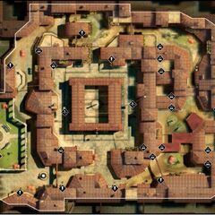 Een kaart van Florence in het trainingsprogramma van de Animus.