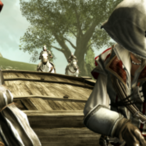 Ezio and Leonardo being pursued by Borgia guards
