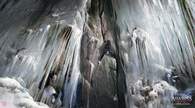 File:ASSASSIN'S CREED 3 LIBERATION Frozen Waterfall by nachoyague.jpg