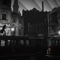 奥列洛夫在有轨车上奔跑