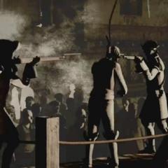 勒布斯被吊死前的一瞬間
