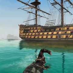 Edward swimming towards a British ship