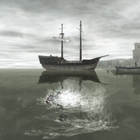 Ezio swimming in <a href=