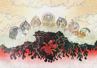 A depiction of the Seven Deities banishing Asura