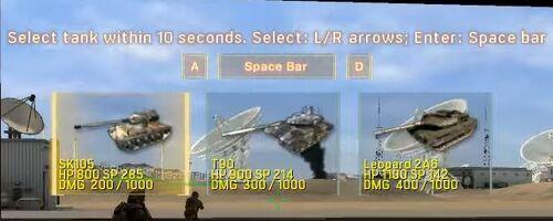 Tank Model Selection Interface