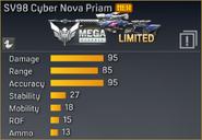 SV98 Cyber Nova Priam statistics