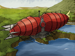 Fire Nation airship over capital