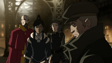 File:Korra, Tenzin and Lin learn of Hiroshi's being an Equalist.png