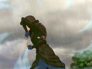 Katara prepares the icicles