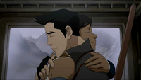 Mako and Korra hug