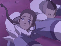 Katara calls out to Aang