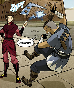 File:Sokka getting zapped by Azula.png