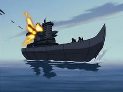 Ship gets hit