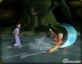 Katara and Aang fight swamp monster.png