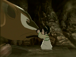 Toph befriends a badgermole
