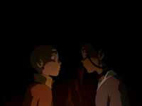Katara and Aang about to kiss