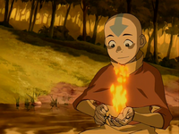 Aang firebends for the first time