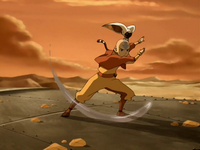 Aang cuts through the drill