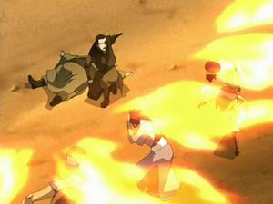 Zuko showers Team Avatar with fire