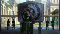 Baatar Jr. and Kuvira hug