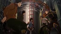 Bolin, Mako, Korra, Suyin, and Lin
