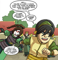 Toph drags Ty Lee off