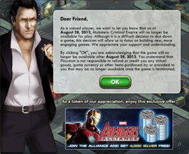 Mobsters Criminal Empire Closing Notice