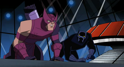 Hawkeye and Black Panther fight the Masters of Evil alone