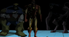 Gamma Iron Man, Captain America and Black Panther.