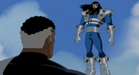 Graviton and Nick Fury face to face