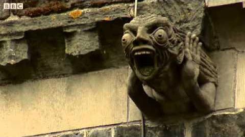 'Alien' gargoyle on ancient abbey
