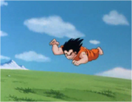 Goku Having Been Kicked in the Back by Raditz