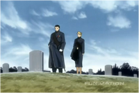 Roy Mustang & Riza Hawkeye Standing at Hughe's Grave Site