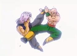 Trunks Fighting Tien in Bojack Unbound