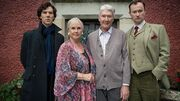 Benedict Cumberbatch with his real life parents Wanda Ventham and Timothy Carlton, and Mark Gatiss as the Holmes family in BBC Sherlock Season 3 Episode 3 His Last Vow