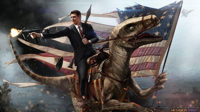 File:Ronald reagan riding a velociraptor.jpg
