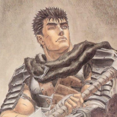 Guts looks up, having fired his cannon prosthetic arm.