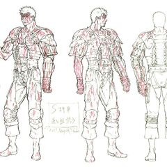 Bloody full body sketches of Guts' design during the Eclipse for the Golden Age film trilogy.